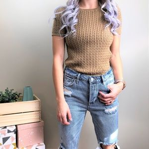 Ralph Lauren Tan Cable Knit Sweater